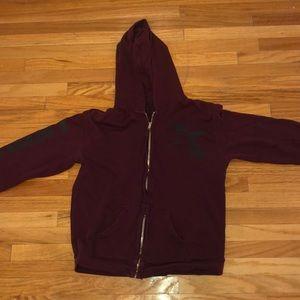 Freecity zip up sweatshirt burgundy size small